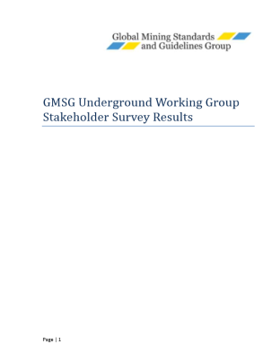 GMG Underground Working Group Stakeholder Survey Results