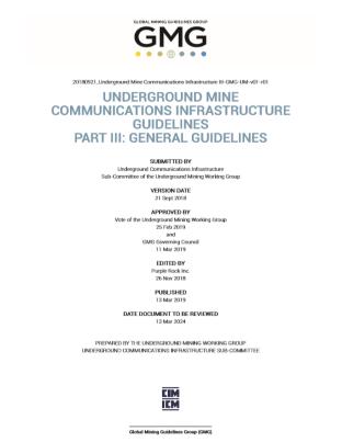 GMG Guideline Underground Mine Communications Infrastructure III